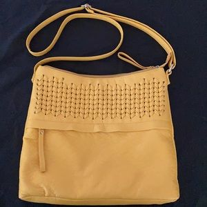 Marc fisher leather weave messenger bag purse